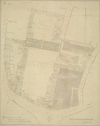 [Drawn plan of the King's Mews, Charing Cross, and the properties adjoining, from Whitcomb Street to St Martin's Lane]